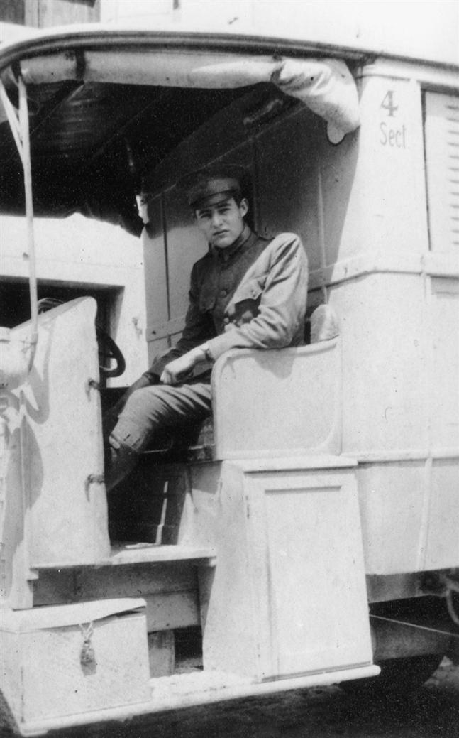 Ernest Hemingway in an ambulance of the Red Cross in Italy, ca. 1910s